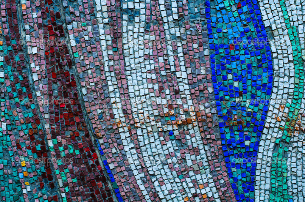 Old colorful mosaic wall texture