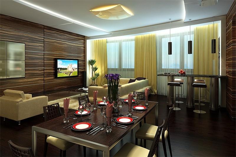дизайн-гостиной-столовой