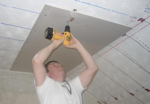 Потолок из гипсокартона в гараже своими руками