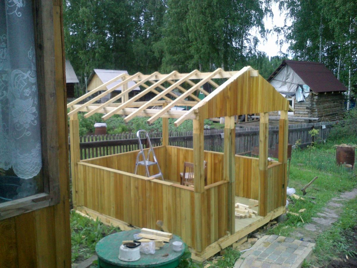 Построить беседку на даче из дерева своими руками 54