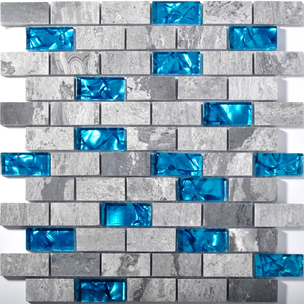 Метро-1x2-стекло-и-мрамор-смеси-мозаика-плитка-для-кухни-щитка-ванной-комнате-душевая-кабина-стены