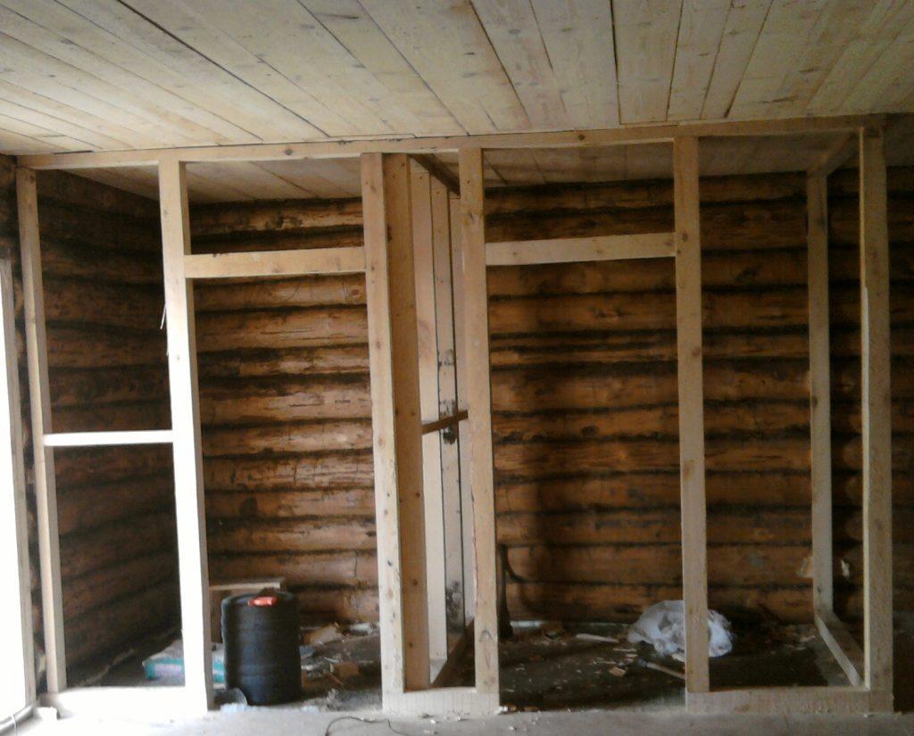 Устройство перегородки в деревянном доме своими руками 43