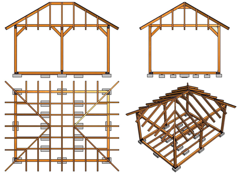 Строительство навеса с односкатной