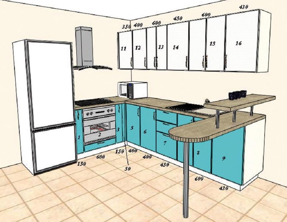 Рисунок дизайна кухонь 30