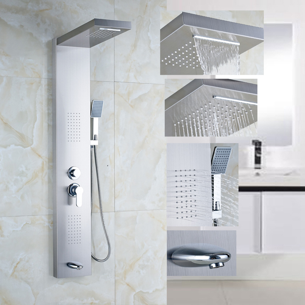 Stainless-Steel-1-Handle-Shower-Column-Panel-Massage-font-b-Jets-b-font-font-b-Tub