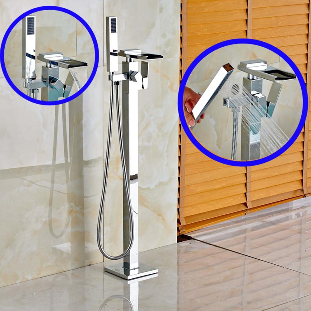 Стоящие-Водопад-Носик-Ванной-Кран-Mixr-Tap-Напольного-Монтажа-Ванна-Filler-Смеситель